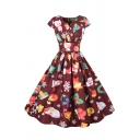 Womens Dress Stylish Father Christmas Star Reindeer Snowflake Tree Bell Gift Print Short Sleeve Midi A-Line Slim Fitted Surplice Neck Swing Dress