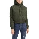 Vintage Womens Jacket Elastic Hem Cropped Zipper Detail Long Sleeve Hooded Slim Fit Padded Jacket