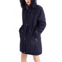 Classic Womens Parkas Fur-Trimmed Hood Drawstring Waist Thickened Zipper Detail Long Sleeve Mid-Length Slim Fit Parkas