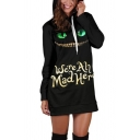 Creative Women's Hoodie Letter We're All Mad Here Printed Drawstring Long-sleeved Regular Fitted Tunic Hooded Sweatshirt