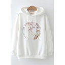 Leisure Women's Hoodie Cat Printed Drawstring Banded Cuffs Long Sleeve Relaxed Fit Hooded Sweatshirt