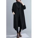 Causal Womens Windbreaker Coat Solid Color Waist Pocket Hoodie Full Sleeve Knee-Long Loose Winter Jacket