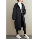 Basic Women's Down Coat Quilted Solid Color Asymmetrical Side Slit Hooded Button-down Long-sleeved Oversized Coat