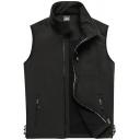 Men's Simple Plain Stand Collar Zip Up Sleeveless Sport Vest