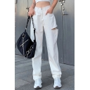 Womens Pants Fashionable Plain Ripped Hole Loose Fitted Long Straight Relaxed Pants