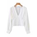 Unique Womens Shirt Solid Color Panel Button Detail V-Neck Long Sleeve Slim Fitted Shirt
