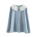 Retro Womens Shirt Lace Patchwork Button down Long Sleeve Doll Collar Loose Fit Shirt