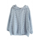 Womens Jacket Trendy Floral Embroidered Hollow out Button down Loose Fit Long Sleeve Hooded Casual Jacket