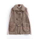 Womens Vest Casual Solid Color Double Pockets Front Toggle Button Detail Loose Fit Sleeveless Turn-down Collar Sherpa Vest