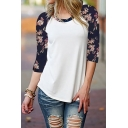 Women's Long Sleeve Wifey Round Neck Floral Splice Loose Shirt Blouse