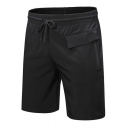 Mens Shorts Simple Plain Invisible Zipper Pocket Drawstring Waist Regular Fitted Sport Shorts