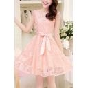 Chic Crochet Lace Crewneck Sleeveless Pink Layered Mini A-Line Dress
