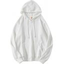 Novelty Mens Sweatshirt Plain Ribbed Hem Kangaroo Pocket Drawstring Long Sleeve Relaxed Fitted Hoodie