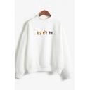 Cute Cartoon Three-Cat Pattern Mock Neck Long Sleeve Loose Relaxed Sweatshirt