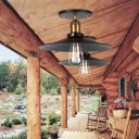 Flying Saucer Balcony Ceiling Light Industrial Iron 1-Light Black Semi Flush Mount Light, 8.5