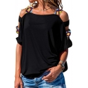 Trendy Tee Top Solid Color Hollow out Cold Shoulder Round Neck Short-sleeved Tribal T-Shirt for Women