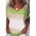 Fancy T-Shirt Ombre Pattern V Neck Short Sleeve Relaxed Fit T-Shirt for Women