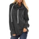 Basic Hoodie Drawstring Solid Color Cowl Collar Long Sleeves Loose Fit Hooded Sweatshirt for Women