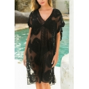 Sexy Ladies Dress Embroidery Lace Hollowed Short Sleeve V Neck Loose Knee-Length Dress