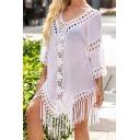 Fashionable Girls Wrap Dress Plain Crochet Lace Fringe Backless Sheer V Neck 3/4 Sleeve Mini Dress