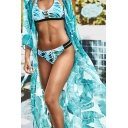 Fancy Tropical Beachwear Cardigan Banana Leaf Print Half Sleeve Maxi Cardigan for Women