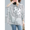 Trendy Womens Chiffon Shirt Polka Dot Patchwork Button High Low Long Batwing Sleeve Loose Collared Shirt