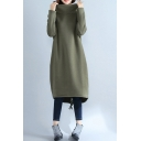 Basic Sweatshirt Dress Solid Color Brushed Drawstring Hem Side Pockets Mock Neck Long Sleeves Relaxed Fitted Midi Sweatshirt Dress for Women