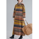 Fashionable Women's Sweatshirt Dress Multi Color Stripe Printed Mock Neck Long-sleeved Relaxed Fitted Long Sweatshirt Dress for Women