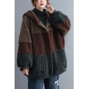 Thick Women's Sherpa Coat Fur Fleece Color Block Hem Banded Button-down Hooded Pocket Detail Long-sleeved Relaxed Fitted Sherpa Coat