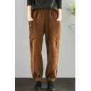 Stylish Women's Pants Solid Color Corduroy Big Pockets Ankle-Tied Elastic Waist Relaxed Straight Pants