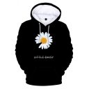 Chic Trendy Black Long Sleeve Drawstring Floral Pattern Letter Graphic Loose Fit Streetwear Hoodie for Boys