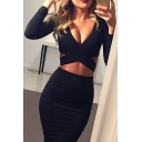 Womens Sexy Hollow Out Detail Plain Long Sleeve Midi Bodycon Dress