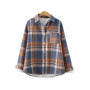 Womens Shirt Casual Plaid Pattern Thickened Button down Long Sleeve Spread Collar Loose Fit Shirt