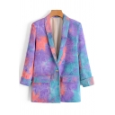 Womens Jacket Casual Tie Dye Cord One-Button Slim Fit Long Rolled-Sleeve Lapel Collar Suit Jacket
