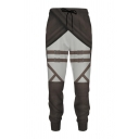 Mens Pants Stylish Color Block 3D Belt Pattern Drawstring Waist Cuffed Regular Fit 7/8 Length Tapered Jogger Pants