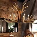 Deer Horn Country Club Pendant Light Rustic Resin 6/8/10-Bulb Brown Chandelier Lamp