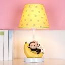 Fabric Shade Table Lamp with Monkey Decoration Pink Finish Single Head Table Light for Girls Bedroom