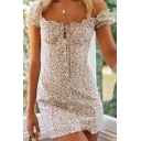 Beautiful Girls Sheath Dress Disty Floral Ruffle Trim Square Tie Neck Button One Shoulder Short Dress
