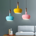 Macaron Oval Hanging Lamp Kit Aluminum Single Living Room Pendulum Light with Elongated Grip in Pink/Yellow/Blue