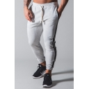 Mens Pants Simple Two-Stripe Side Cotton Cuffed Drawstring Waist Ankle Length Slim Fit Tapered Jogger Pants