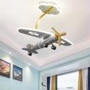 Aircraft Ceiling Flush Mount Cartoon Metallic LED Silver Semi Flush Light for Playing Room