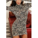 Womens Dress Trendy Leopard Skin Print Glove High Neck Long Sleeve Slim Fitted Mini Bodycon Dress