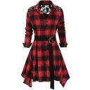 Retro Womens Shirt Plaid Pattern Lace Patchwork Asymmetric Hem Button up Turn down Collar Long Sleeve A-Line Slim Fitted Shirt Dress