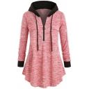 Womens Hoodie Chic Space Dye Color Block Zipper Detail Drawstring A-Line Tunic Long Sleeve Slim Fit Hooded Sweatshirt