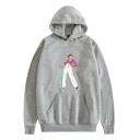 Womens Hoodie Trendy Figure Harry Styles Letter Fine Line Pattern Drawstring Kangaroo Pocket Loose Fit Long Sleeve Hoodie