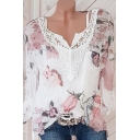 Dressy Blouse Floral Butterfly Printed Lace Trims V Neck Long Sleeve Regular Pullover Fitted Chiffon Blouse for Women