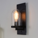 Cloche Transparent Glass Wall Sconce Vintage 1-Light Kitchen Wall Mount Light in Black
