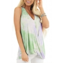 Colorful Tank Top Tie Dye Pattern Pleated Design V Neck Sleeveless Loose Fit Tunic Tank Top for Women
