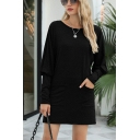 Causal Womens Sheath Dress Solid Color Pocket Full Batwing Sleeve Crew Neck Short Dress