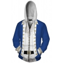 Classic Men's Hoodie 3D Printed Drawstring Zipper Placket Side Pockets Long Sleeves Relaxed Fit Hoodie